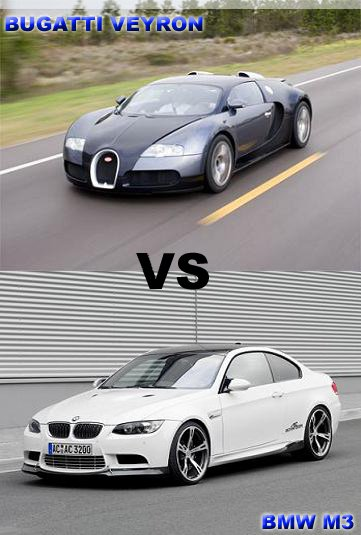 contrast between the high quality bugatti veyron and bmw m3 no car no fun. Black Bedroom Furniture Sets. Home Design Ideas