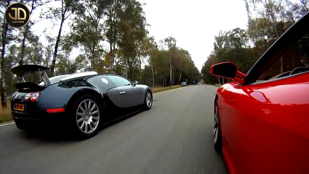 video bugatti veyron vs ferrari f430 jdc no car no fun muscle cars and power cars. Black Bedroom Furniture Sets. Home Design Ideas