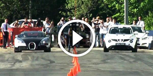 Drag Race: 1001HP Bugatti Veyron vs. 700HP Tuned Nissan Juke-R - NO