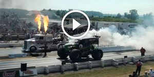 WHO WINS? GRAVE DIGGER vs GODZILLA Jet Powered Truck!