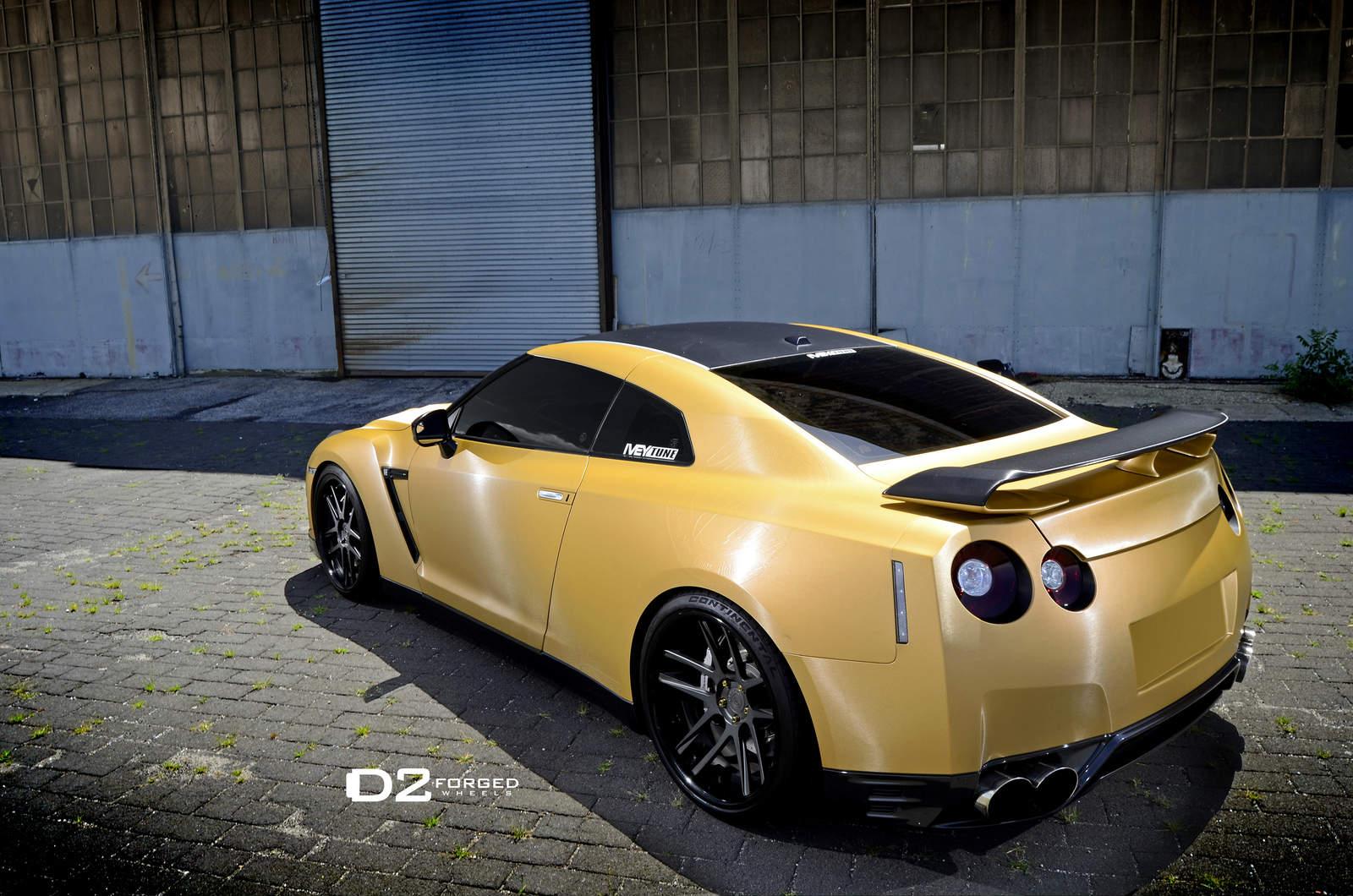 Benz Drift Car >> Matte Gold Nissan-GTR-D2FORGED-CV8-Wheels-three quarter rear left side close view - NO Car NO ...