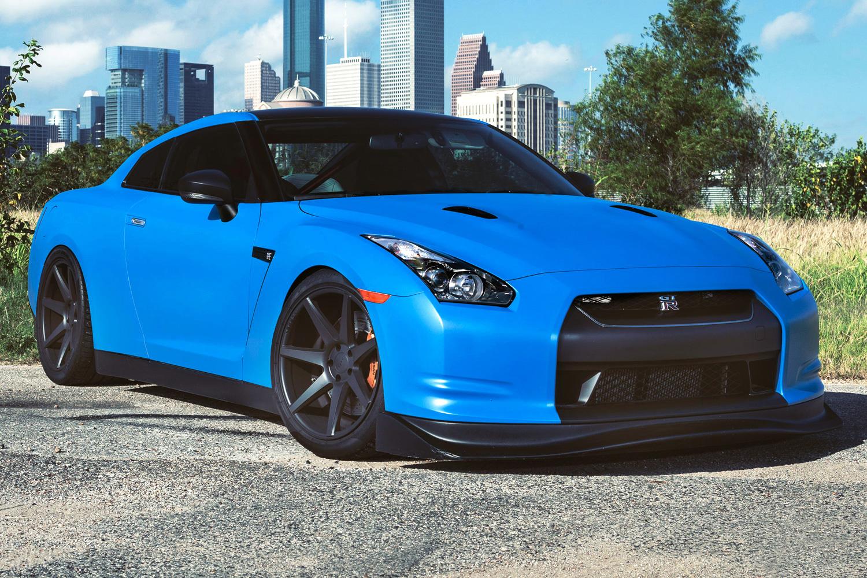 Azure Blue Nissan Gt R With Inch Vossen Wheels Three Quarter Front Right