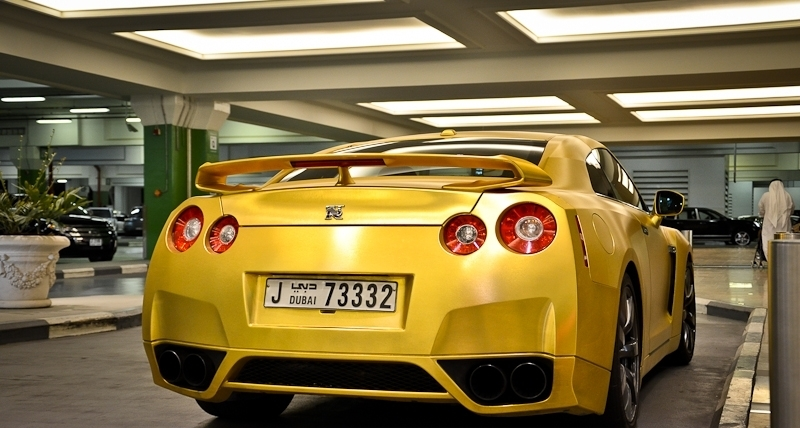 Matte Gold Nissan R35 Gt R Rear View No Car No Fun