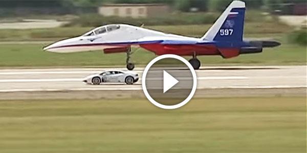 2015 Dodge Magnum >> ULTIMATE DRAG RACE: Sukhoi SU-27 Flanker Jet Fighter Vs Lamborghini Huracan! - NO Car NO Fun ...