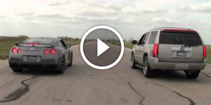 1000hp Twin-Turbo Escalade VS Nissan GT-R