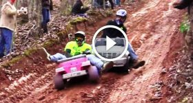 Downhill Ride In A Barbie Jeep