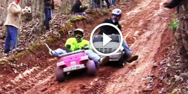 CAN'T STOP LAUGHING..Downhill Ride In A Barbie Jeep? Hilarious Extreme Barbie Jeep Racing!!!