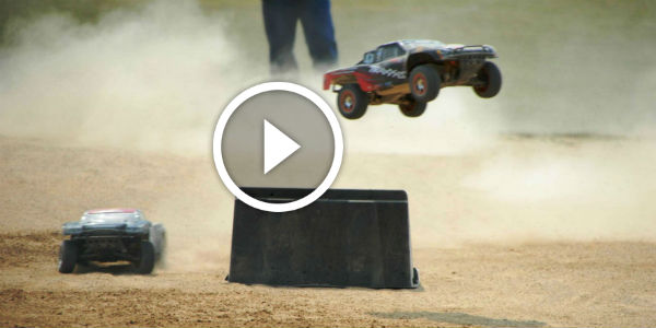 Tiny Power !!! Awesome RC Stunt Jump Made By The Traxxas Nitro Rustler Truck !!!