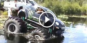 Monster VW Beetle Floats on Water