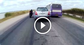 Bike Riders Overtake Cars And Nearly Got Hit By A Car