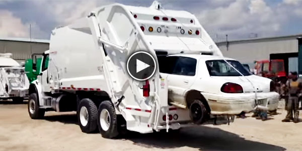 Hungry Garbage Truck Cobra Magnum Eats A Car Completely