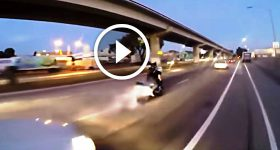 Racing Motorcycle Epic Burnout on Street
