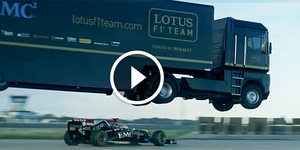 Gila Truk Ini Lompati Mobil Balap F1 4ini