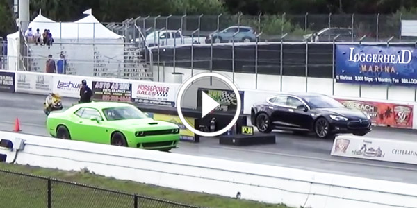 Can You Believe It Tesla Model S P85d Destroy The New Hellcat On Drag Strip No Car Fun Muscle Cars And