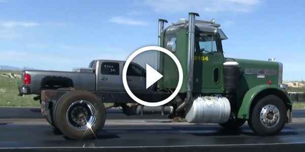 who wins nice lifted chevy duramax takes on an old peterbilt semi