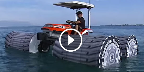 IS THIS a TRACTOR or a BOAT ! Crazy Greek Guy Enjoys Beautiful Day on a Water!