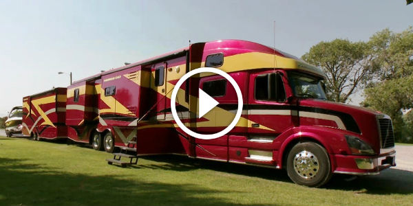 Talk ABOUT a REAL CAMPER!!! The Powerhouse Coach Has The Muscle Of A Semi Truck And The Luxury Of A Palace!