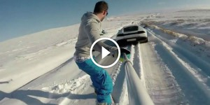 Snowboarding off the back of a Lamborghini Huracan! - cl
