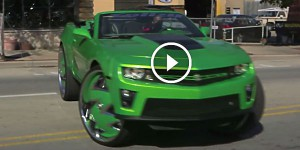 Custom Green Camaro Sits On Massive 32-inch Rims