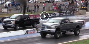 Huge Cummins Ram vs Built Duramax Diesel Drag Race