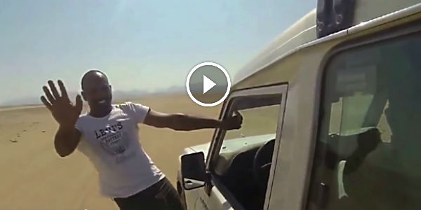 This Is By Far The ULTIMATE GHOST RIDING THE WHIP! This Guy Is Steering His Toyota Through A Hot Desert With His Foot!!!