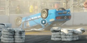 Mustang Racing Crash into Barrier Gets Flipped