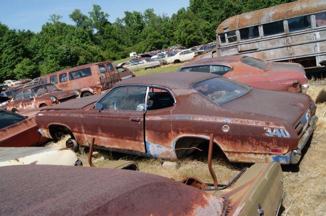 1971-plymouth-duster in a junkyard at carolina hills - NO ...