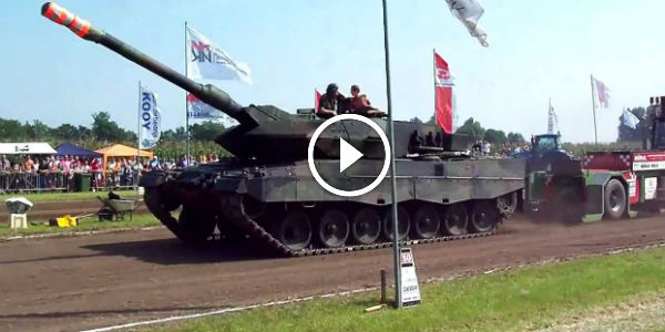 Party Crasher Leopard 2 Tank Entered In A Wrong Tractor Pulling Competition And Ruined It!