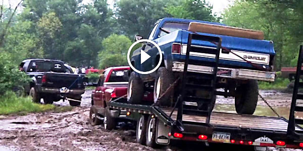 ford pickup executes a painful mud pull dodge and chevy. Black Bedroom Furniture Sets. Home Design Ideas