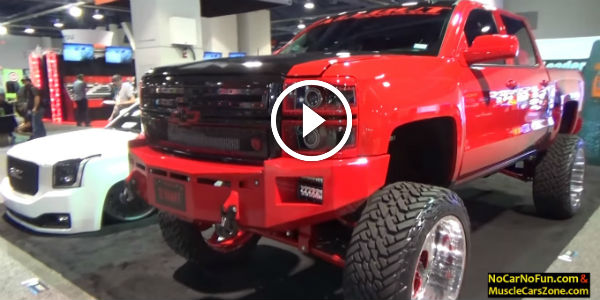 BEHOLD THE T-REX AMONG TRUCKS AT SEMA 2015: Lifted Chevy Duramax On American Force Wheels With
