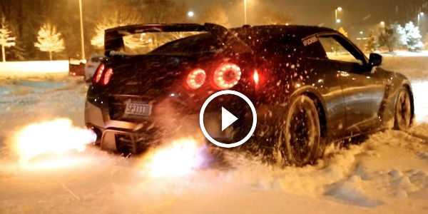 Nissan GTR Snow LAUNCH CONTROL FLAMETHROWER! Who Needs A Snow Blower When You Got One Of THESE BAD BOYS!!!