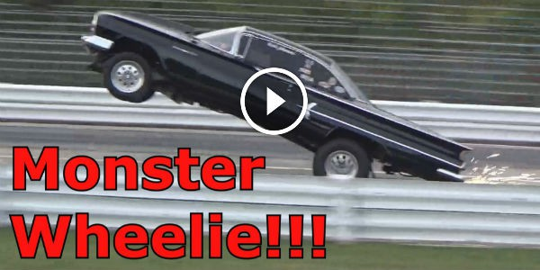 HURRICANE MUSCLE HORSEPOWER: Rick Johnson's 1960 Chevy Bel-Air Does A JAW-DROPPING MONSTER WHEELIE At The Wisconsin International Raceway!!!