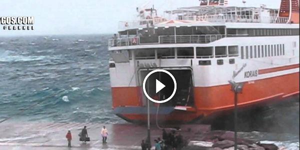 Roro Passenger Ferry Adamantios Korahs FLAWLESSLY EXECUTES Heavy Seas Mediterranean Mooring Procedure At The Greek Island Of Sikinos!!!