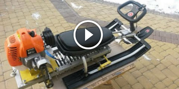 HOMEMADE SNOWMOBILE With Petrol Engine Of A Trimmer! Your