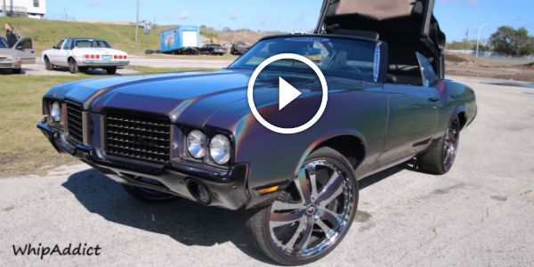 "1972 CUTLASS CONVERTIBLE On 24"" Forgiatos with Gunmetal Spectraflair Paint By Shoplyfe At MLK Car Show 2016! ONE SICK OLD SCHOOL!"
