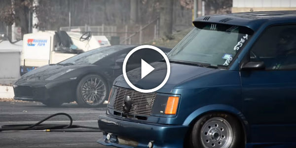 Chevy Astro Van Is WIPING THE ASPHALT On The Drag Strip With This Poor Lambo!!! Lambo R.I.P ...