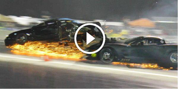 Blown Chevy Corvette And Turbo Mustang Destroyed In A Drag