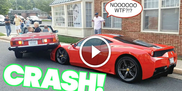 CRAZY WOMAN DRIVER With Mercedes -Benz 380SL Roadster DESTROYS 400,000 Euros Worth Ferrari 458 Speciale On A Parking Lot!!!