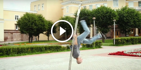 AMAZING LADDER ACT By Russian Circus Performer Dmitry Bondarev! This Man FIRST LEARNED TO CLIMB A LADDER, And Then To Crawl!
